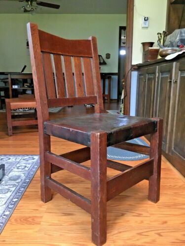 Gustav Stickley V Back Chair  *Arts & Crafts Mission * (1907-12 ) Signed