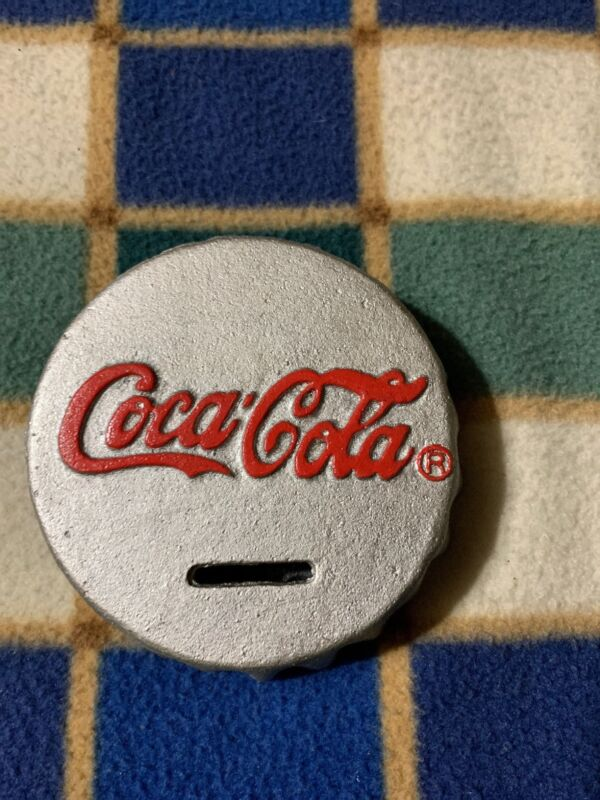 Coca Cola  Cast Iron Bottle Top Coin Bank ~ Heavy~ Hard to Find