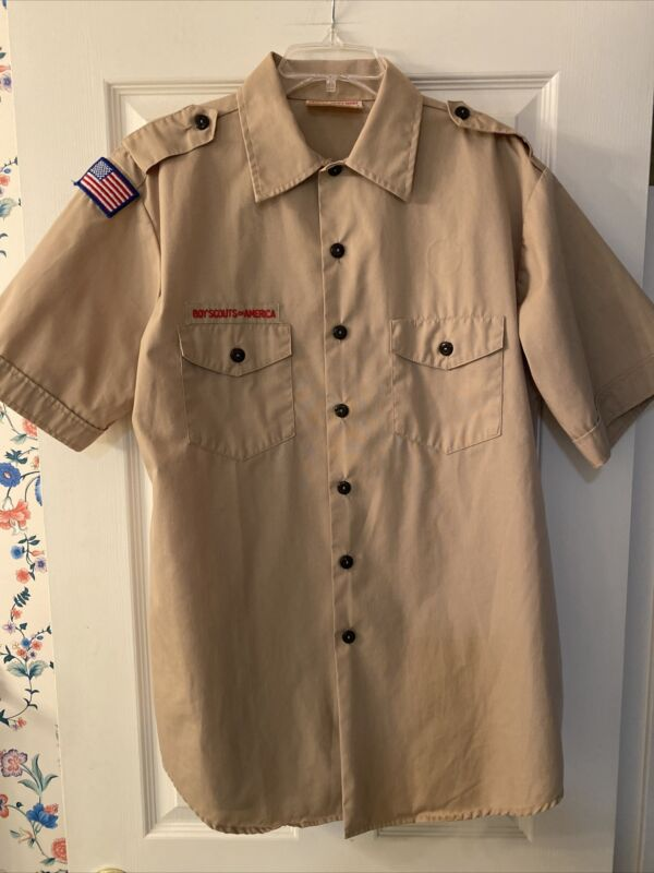 Boy Scout BSA UNIFORM SHIRT Mens Large Short Sleeve Tan G33