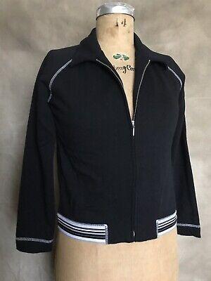 Women's TRACK JACKET 100% Cotton Black Ann Taylor LOFT Zip Up STRIPE ELASTIC SP