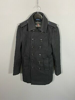 SUPERDRY Double Breasted Coat - Small - Black - Wool - Great Condition - Men's