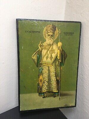 Antique greek orthodox icon Of St Nectarios