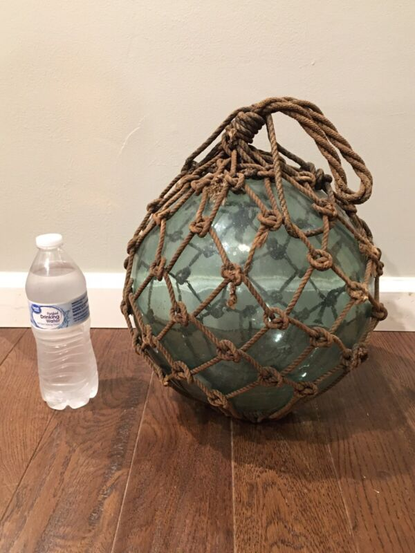 "ANTIQUE 41"" LARGE VINTAGE GREEN JAPANESE ROPED GLASS FISHING FLOAT BUOY"