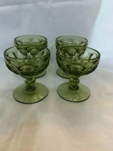 Imperial glass whirlpool provincial sherbet set/4  Verde green saucer champagne