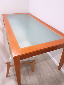Wooden & Frosted glass dinning table