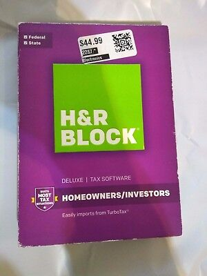 H R Block Tax Software Deluxe Federal   State 2016 Homeowners Investors