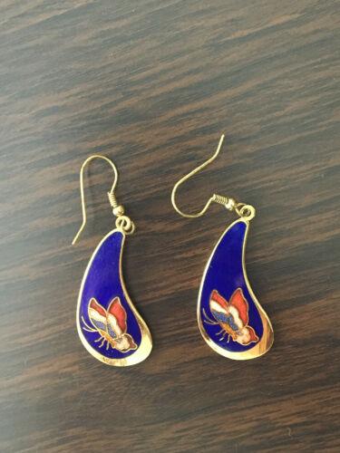 Vintage Cloisonne Style Enamel Earrings Butterfly 80s 90
