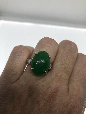 Jade White Gold Ring - Vintage Green Jade Ring White Gold Finish Size 9