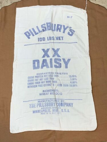VINTAGE PILLSBURY'S XX DAISY FEED SACK UNOPENED GC