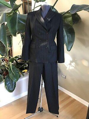 Express Women's Suit Jacket Pant Suit Menswear Inspired Black Pinstripe Size - Express Menswear