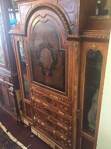 Antique french empire etagere display secretary cabinet