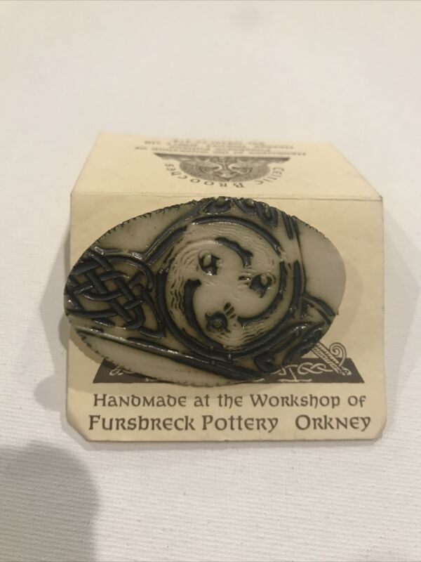 "Vintage NEW handmade Celtic Brooches Fursbreck Pottery 2"" Brooch Pin Orkney"