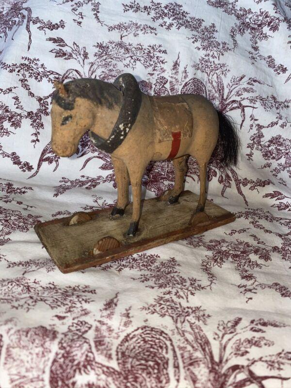 Antique German Hand Painted Flocked Stick Leg Platform Nodder Horse  Floor Toy