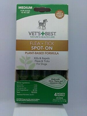 Vet's Best Topical Flea & Tick Treatment for Dogs 16-40lbs, 4 Month