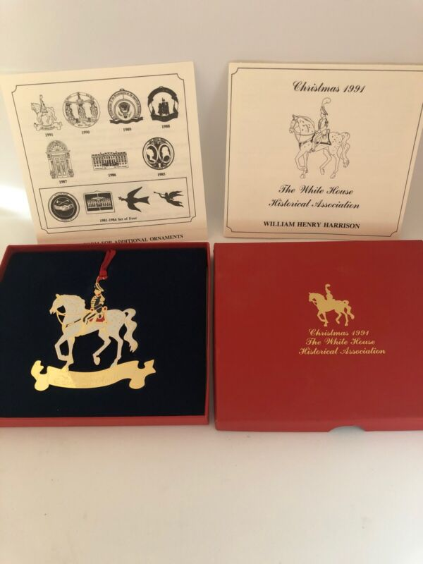 1991 White House Historical Association Christmas Ornament w Box & Papers