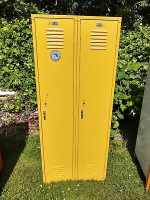 Yellow Locker Bank Of 2 Many Shelves 15 D X 30 W X 72 H Good Pre Owed Cond.