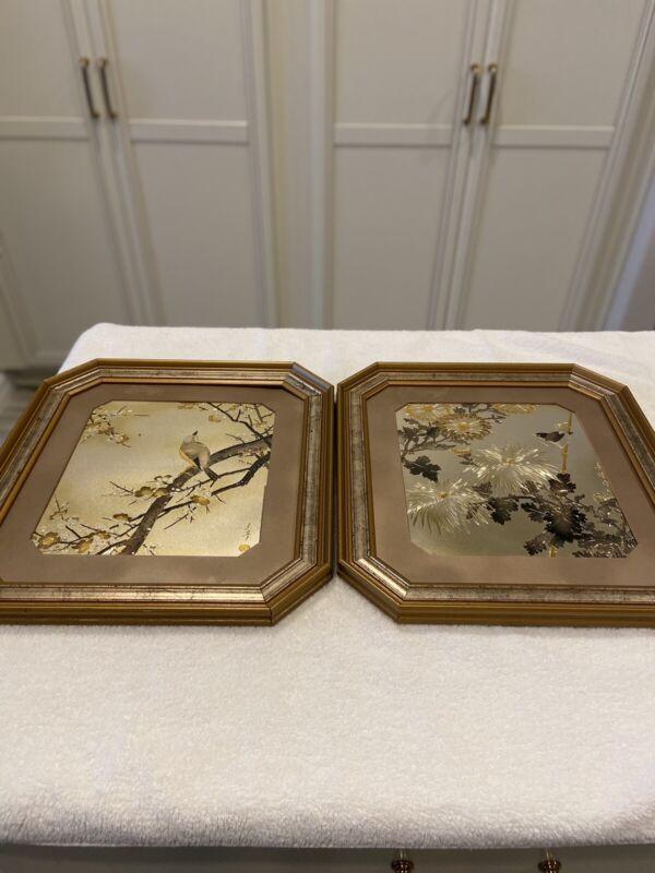 VINTAGE Lin-Art Ancient Japanese Art of Chokin 2 Framed Pictures of Gilded Birds