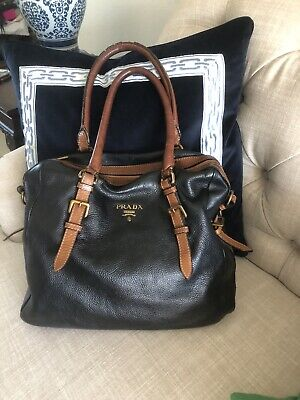 Black Leather Prada Purse With Brown Handles