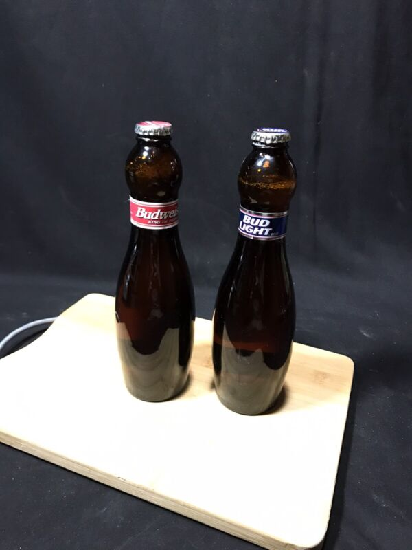 Lot Of 2 Vtg Budweiser/Bud Light Beer Bottles ABC Bowling Pin Collectible