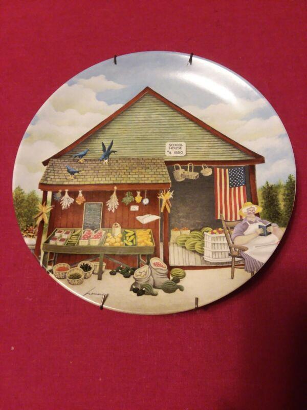 "Vtg Lowell Herrero Plate 1986 School House #4 1850 8"" Round"