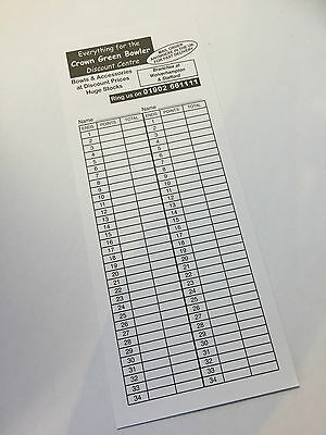 250 Bowls Scorecards Double Sided - 250SC
