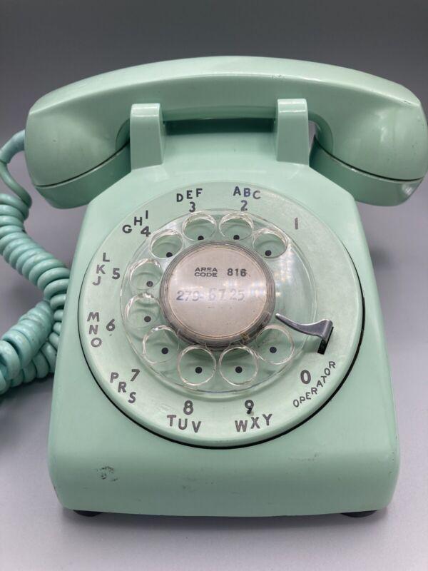 Vintage WORKING Light Green/Aqua Rotary Dial Desk Telephone--RARE COLOR