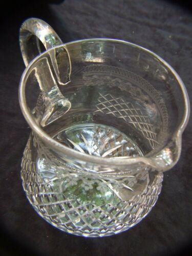 Antique  BOHEMIAN Hand Cut & Engraved  CRYSTAL LARGE WATER JUG 1900