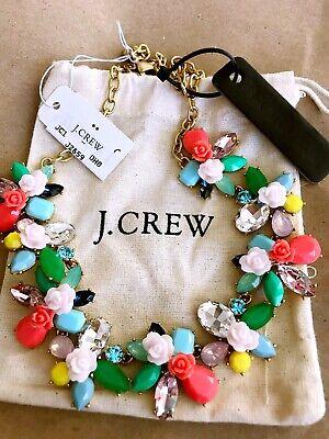 NWT J.Crew factory Floral Gemstone Rose Garden Statement Necklace Floral Gemstone Necklace