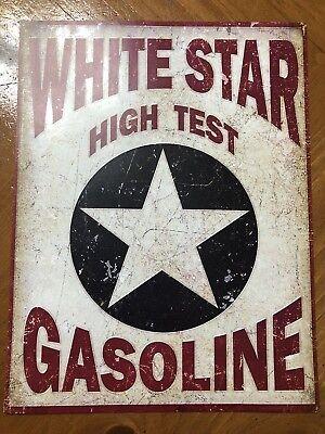 Tin Sign Vintage White Star High Test Gasoline Motor Oil