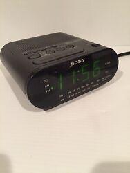 Sony Dream Machine Black LED Alarm Clock AM/FM Radio Battery Backup ICF-C218