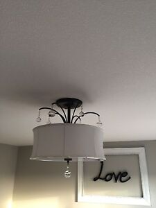 Large White Drum Shade Light