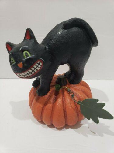 Primitive Vintage Style Halloween Black Cat Sitting on Pumpkin Figurine Decor
