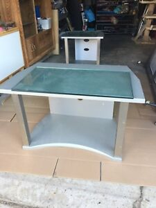 Two end tables.    With 2. Glass.  Shelves
