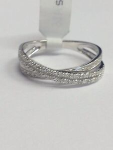 9ct White Gold Diamond Crossover Eternity Ring 0.10ct  size P . RRP £199