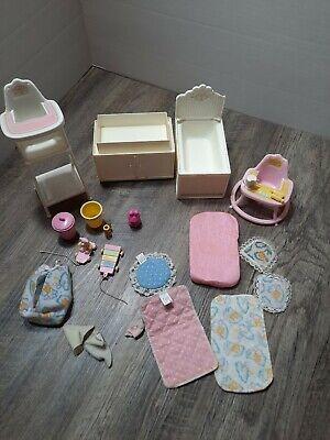 Vtg 1984 Mattel Barbie Dream House White Wicker Nursery Furniture lot