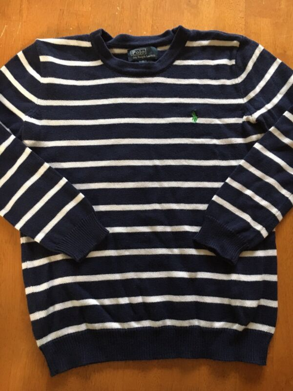 Boys Polo Ralph Lauren Navy Blue and White Stripe Sweater Size 7