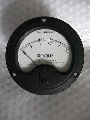 1 X Nos Westinghouse Nx-35 Navy Type Cay-22306 Vintage Panel Meter 0-2.5 Kv Dc