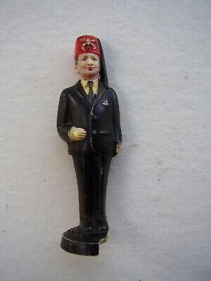 - Vintage Zor Shriner MASONIC FREE MASONRY FEZ Hat Black Suit Figurine Man