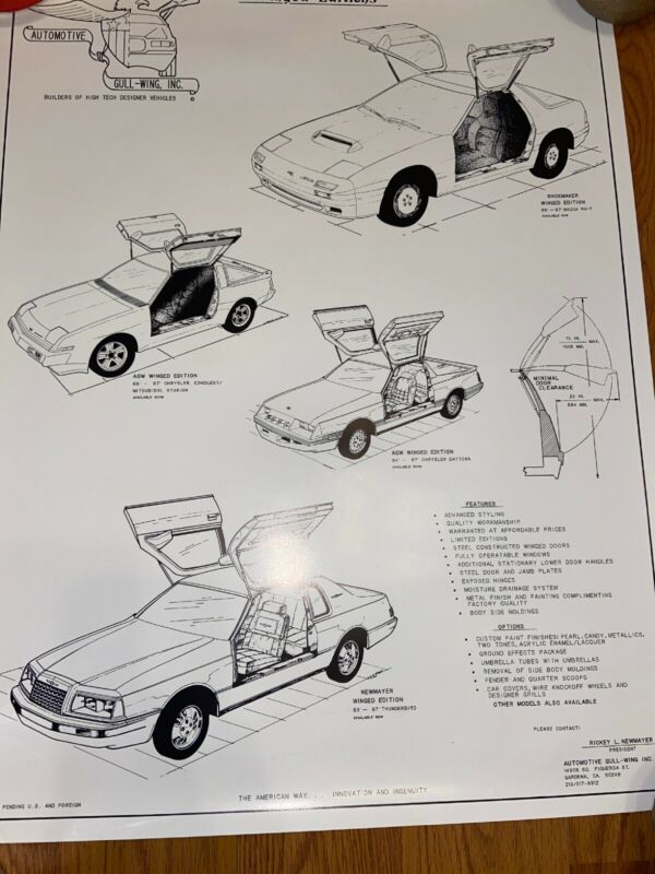Rare 1980's Automotive Gull-Wing Ad Poster Chrystler Mercedes