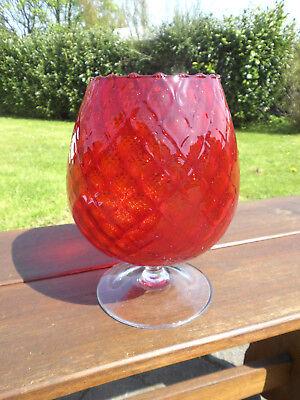 XXL Designer VINTAGE GLAS VASE Cognac Gefäß ROT geriffelt Höhe 23cm      Glas-vase Geriffelt