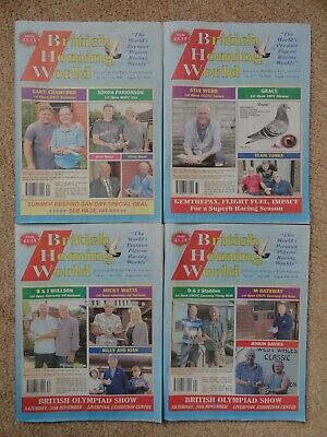 4x British Homing World racing pigeon birds magazines back issue August 2019