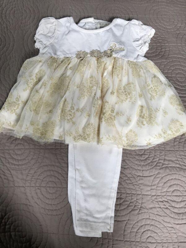 Guess Los Angeles Baby Girl Beige Gold Shirt Pants Sz 24m Set