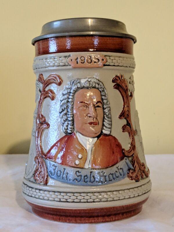 Beer Mug M&R Jahresseidel M Zinndeckel 1985 Joh. Seb. Bach, COA Near Mint
