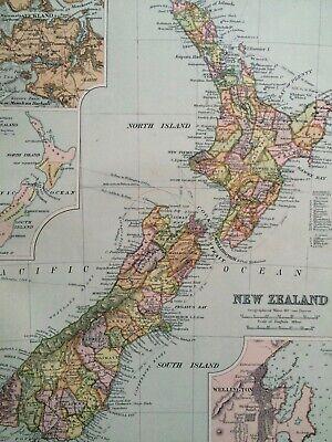 C1898 NEW ZEALAND Original Antique Map Auckland Wellington Inset Maps NZ