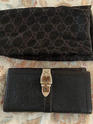 Auth GUCCI Black Horsebit Gold Wallet Leather Clutch Italy w Dust Bag