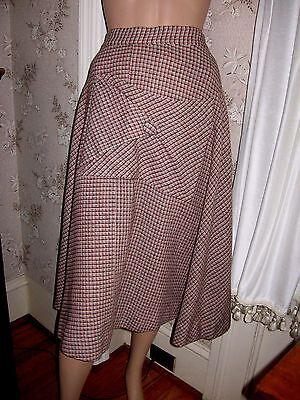 "LOVELY VINTAGE 1940s GRAY,RED,BLACK,CREAM PLAID WOOL SKIRT-METAL ZIPPER - 26""W"