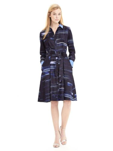 Banana Republic Silk Brush Stokes Navy Dress Women