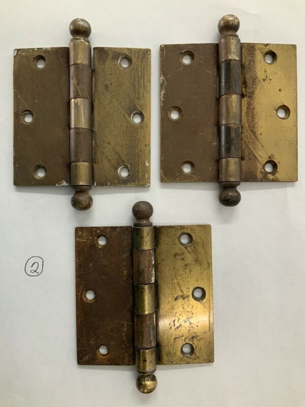 Lot 3 SW Stanley Sweetheart Mortise Door 3 1/2 Butt Hinge CannonBall Brass Plate