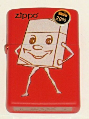 New Windproof Flame Zippo USA Lighter 80469 Vintage Ad Zippo Man Red Matte Case