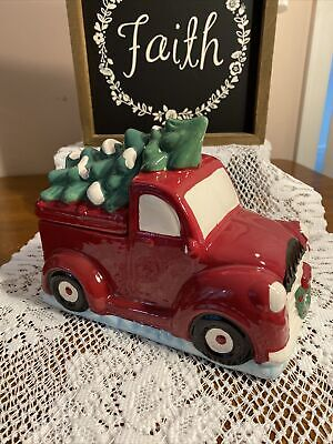 Christmas Cookie Jar Red Pickup Truck with Tree Winter Wonder Adorable